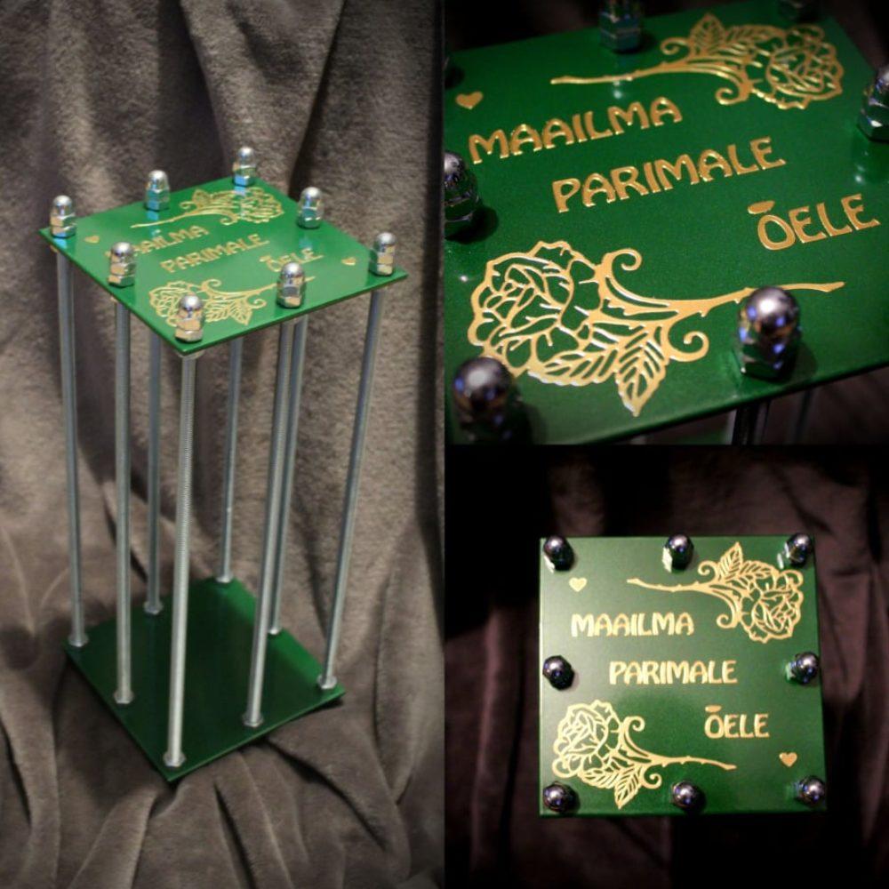 Pudeli Puur – Roheline – kaunistustega isikupärastatud tekstiga